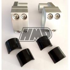 Abraçadeiras alumínio cnc longas para guiador fatbar 28.6 mm ou 22 mm cinzento